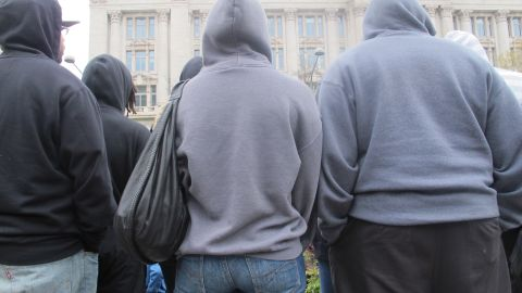 Hoodie-wearing protesters of all ages descended on Freedom Plaza in Washington on Saturday for a rally.