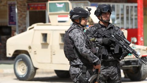 Iraqi special forces man a checkpoint leading to the heavily fortified Green Zone in Baghdad on March 23, 2012.