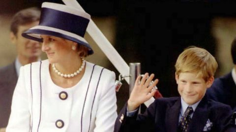 Diana and Prince Harry appear at an event commemorating VJ Day in London in 1995.