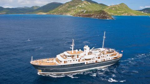 Sherakhan is a former commercial vessel that has been transformed into a luxury yacht.