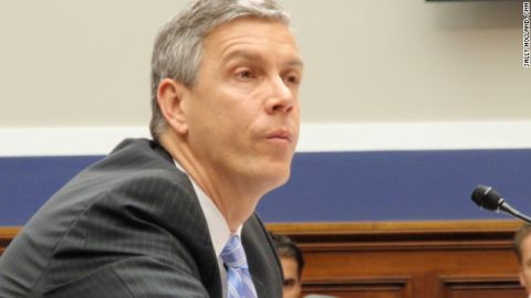 Secretary of Education Arne Duncan defends the Obama administration's issuance of NCLB waivers at a hearing on Capitol Hill on March 28, 2012.