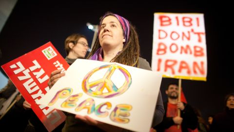 "Israelis demonstrate on Saturday in Tel Aviv against war with Iran. ""Bibi"" is Israeli Prime Minister Benjamin Netanyahu."