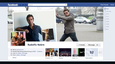 """""""Disclaimer: <a href=""""http://ireport.cnn.com/docs/DOC-765134"""">I'm a fan of Facebook Timeline</a>,"""" writes Rudolfo Nobre of Lisbon, Portugal. He works in digital marketing and social media, so he says he was """"eager to start playing with the cover pic as soon as it came out."""" He describes his image as sort of like the film """"Inception"""" -- a picture of himself holding up a picture of himself holding up another picture of himself. Nobre says he appreciated Facebook's previous visual simplicity but likes Timeline as well: """"With the cover pic, you now have a canvas that you can use to tell everyone, upfront, a bit of who you are, what you're using Facebook for, or how you're feeling."""""""