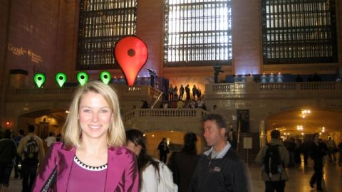 Google's Marissa Mayer seen at Grand Central Station in New York for the launch of the Transit feature on Google Maps.