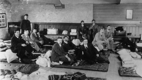 Survivors gather at Millbay Docks in Plymouth on May 1, 1912.