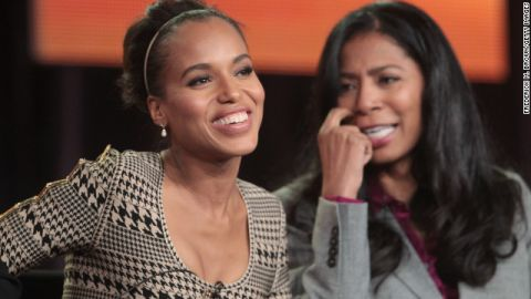 Actress Kerry Washington, left, plays a character based on Judy Smith, right, on ABC's 'Scandal'.