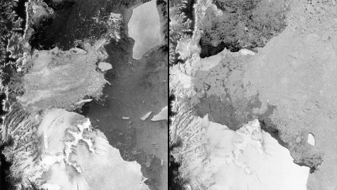 European Space Agency satellite images from 2002, left, and 2012 reveal the disintegration of the Antarctic ice shelf.