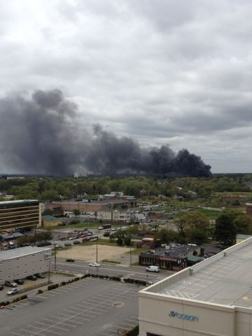 """iReporter David Bryan saw smoke from his hotel balcony in Virginia Beach and shot this photo. """"You could smell the jet fuel, and all we could see was the black smoke,"""" he said."""