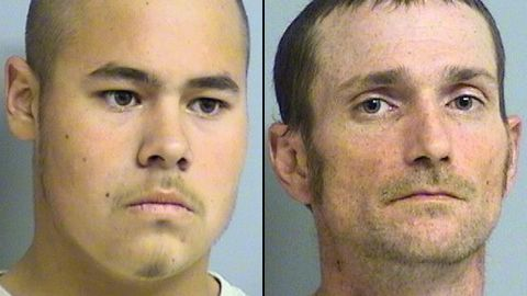 Jake England, left, and Alvin Watts have been charged in connection with shootings in Tulsa, Oklahoma.