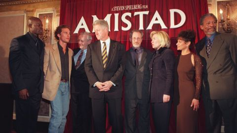 """Then U.S. President Bill Clinton and First Lady Hillary Clinton attend the Washington premiere of """"Amistad"""" on 4 December 1997."""