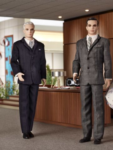 """Clad in their """"Mad Men"""" '60s-finest, Joan Holloway, Roger Sterling and Don and Betty Draper joined the Mattel family in 2010"""
