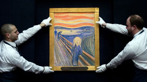 """Edvard Munch's 1895 version of """"The Scream"""" has gone on display at Sotheby's auction house in London before it goes under the hammer at the Impressionist and Modern Art Evening sale in New York on May 2."""