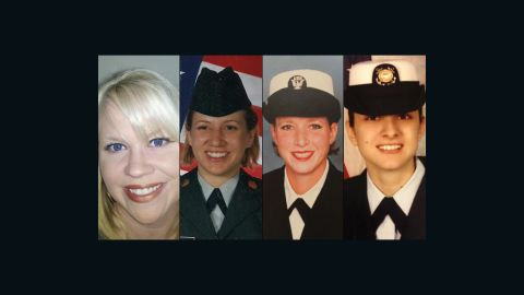 Stephanie Schroeder, Anna Moore, Jenny McClendon and Panayiota Bertzikis say they were raped and then discharged from the military.