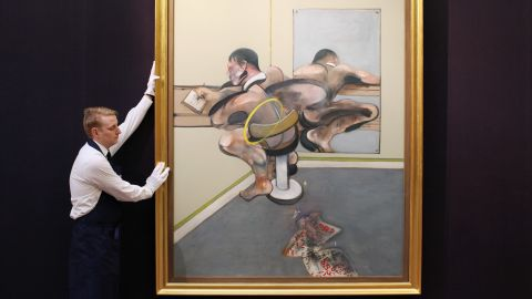 """Francis Bacon's """"Figure Writing Reflected in Mirror"""" is on view as part of the same exhibition. Sotheby's experts say it is likely to sell for in excess of $30 million."""