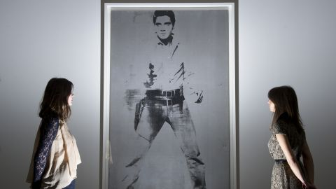 """""""Double Elvis (Ferus Type)"""" by Andy Warhol at Sotheby's auction house in central London."""