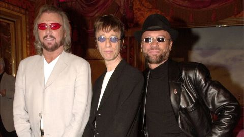 """Barry, Robin and Maurice pose at a New York press conference in 2001 announcing the release of the Bee Gees album """"This is Where I Came In."""""""