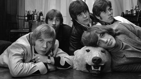 The Bee Gees with a bear skin rug.
