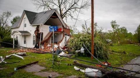 A house is left damaged after an aparent tornado hit on Saturday,  April 14,  in Thurman, Iowa. The National Weather Service received more than 88 reports by late Saturday of possible tornado touchdowns in Oklahoma, Kansas, Nebraska and Iowa, said Pat Slattery, a spokesman for the service's Central Region in Kansas City, Missouri.