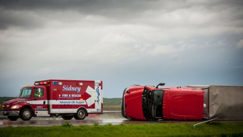 A tactor-trailer overturned on Interstate 29 Saturday in Thurman.