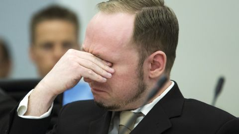Anders Breivik sheds a tear as court views propaganda film he made, in Oslo on April 16, 2012.