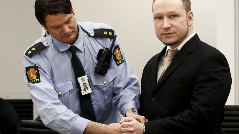 Rightwing extremist Anders Behring Breivik, who killed 77 people in twin attacks in Norway last year arrives in court on April 16, 2012, for his trial .