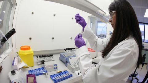 Analyst Jignasha Patel prepares a sample for testing in the anti-doping laboratory which will test athlete's samples from the London 2012 Games on January 19, 2012.
