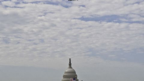 Discovery makes a low pass over the Washington, D.C., area before its final landing Tuesday.
