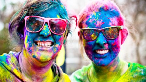 """Nationwide, <a href=""""http://thecolorrun.com/"""" target=""""_blank"""" target=""""_blank"""">Color Run</a> participants start out wearing white, but by the end of the 5K race they're covered head-to-toe in neon. At each kilometer runners pass through stations where volunteers throw colored dust -- yellow, blue, green, pink and purple -- onto the crowd."""
