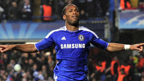 Chelsea's Didier Drogba celebrates after scoring with the last kick of the first half against Barcelona.