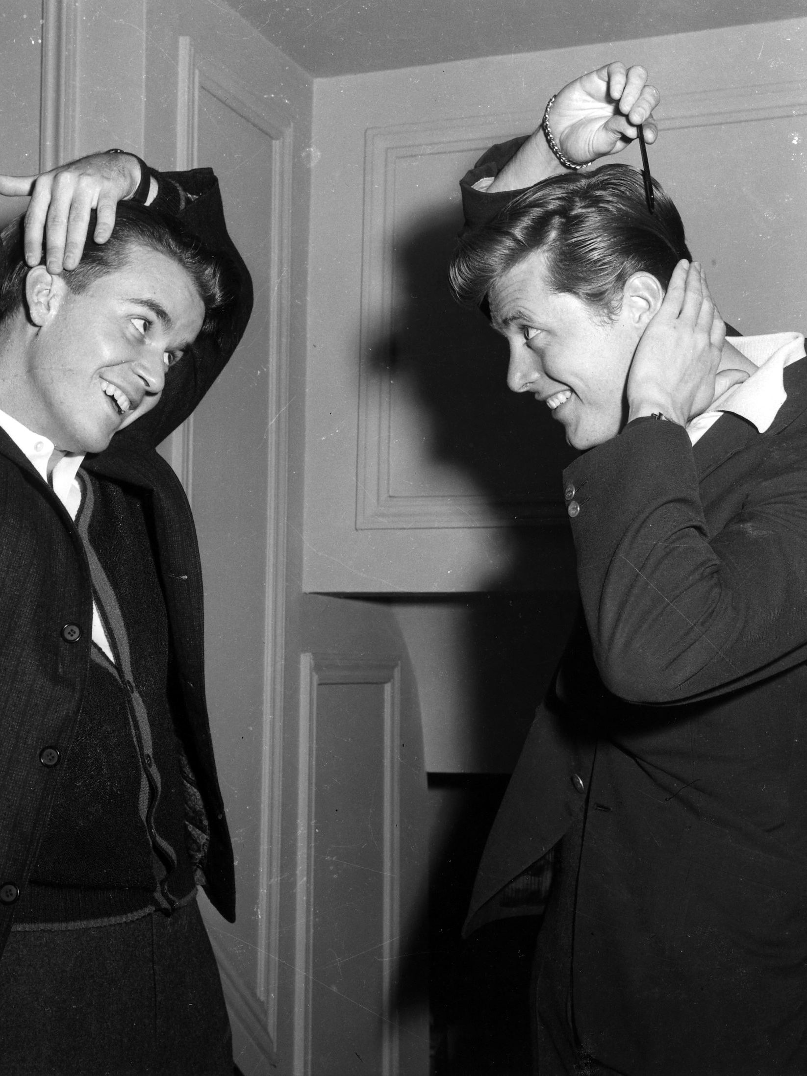 """Clark, pictured with Edd Byrnes, hosted """"American Bandstand,"""" from 1956 until 1987."""
