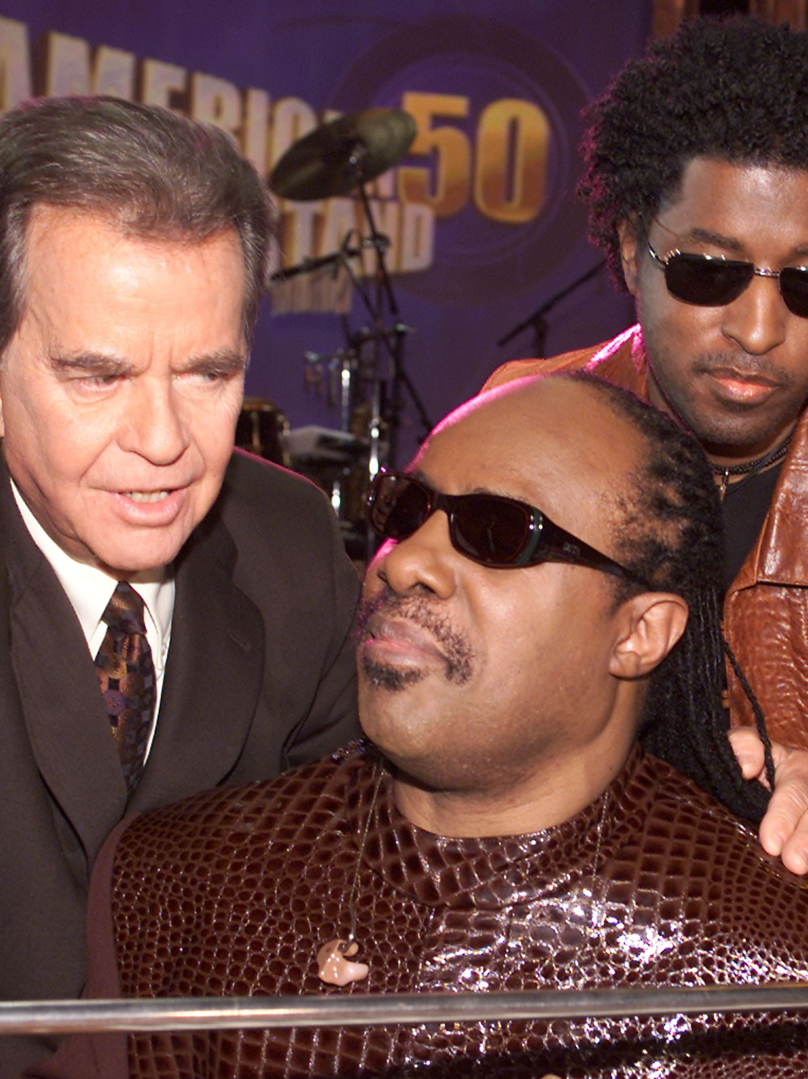 """Clark, Stevie Wonder and Babyface at the taping of """"American Bandstand's 50th...A Celebration"""" at the Pasadena Civic Auditorium in Pasadena, Ca. Saturday, April 20, 2002."""