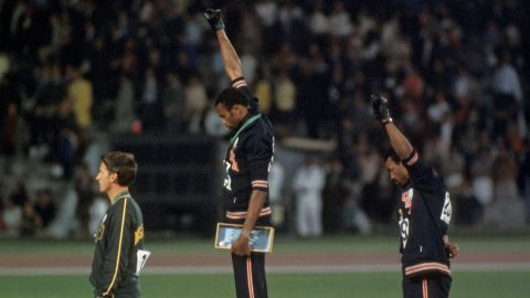 Peter Norman (left), Tommie Smith (center) and John Carlos at the 1968 Mexico Olympics.