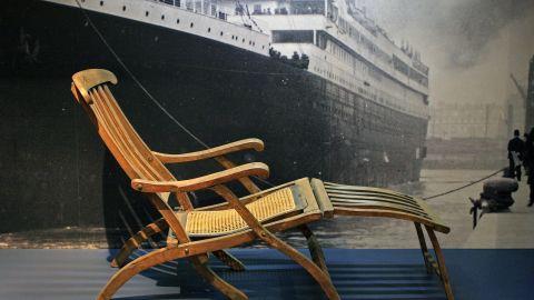 Rare original deck chair from Titanic, the signature artifact of the permanent Titanic exhibit at the Maritime Museum of the Atlantic