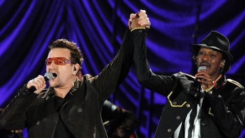 U2 singer Bono and K'naan perform at the Clinton Foundation's Decade of Difference concert on October 15, 2011 at the Hollywood Bowl in California.