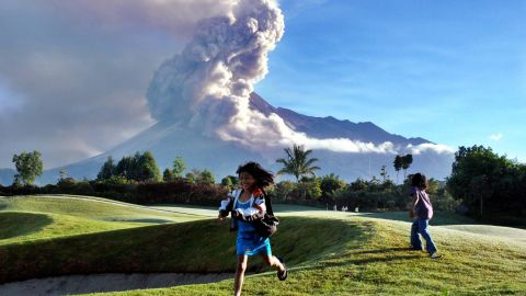 In the far warmer climes of Indonesia, a golf course can be found in the shadow of active volcano, Mount Merapi.
