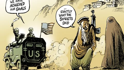 """""""This cartoon tries to illustrate the sad irony of an unchanged situation after years of war. It illustrates the idea that big powers come and go, but nothing changes in Afghanistan."""""""