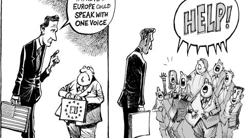 2011 was also the year of the European headache. In my cartoons about the euro crisis, I love to draw the character of the European official: small, fat, with round glasses. When urged by Americans to speak with one voice, they scream in panic.