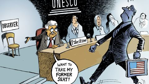 """""""The Palestinians joining UNESCO against the will of the U.S., pushed by Israel. This shows how America sometimes finds itself weakened on the world stage. In losing this battle they found themselves more like an observer than a player."""""""