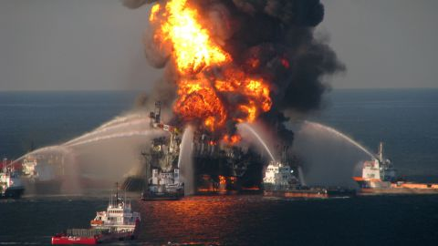 GULF OF MEXICO - APRIL 21:  In this handout image provided be the U.S. Coast Guard, fire boat response crews battle the blazing remnants of the off shore oil rig Deepwater Horizon in the Gulf of Mexico on April 21, 2010 near New Orleans, Louisiana.  An estimated leak of 1,000 barrels of oil a day are still leaking into the gulf. Multiple Coast Guard helicopters, planes and cutters responded to rescue the Deepwater Horizon's 126 person crew. (Photo by U.S. Coast Guard via Getty Images)