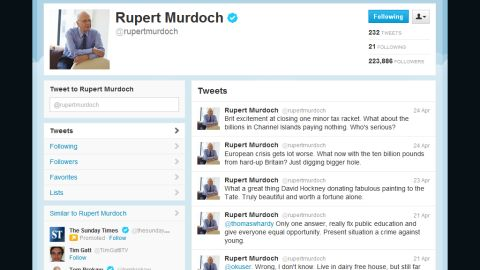 """Rupert Murdoch says his tweets mustn't be taken """"too seriously."""" Earlier he wrote: """"Sorry, if anyone really cares."""""""