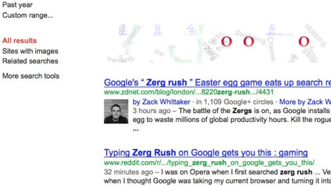 """The """"O's"""" from the Google image become swarming """"zerglings"""" after a search for the gaming term """"Zerg rush."""""""