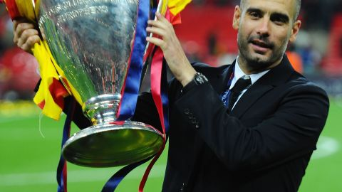 Guardiola lifts the 2011Champions League trophy after Barca beat Manchester United at Wembley. The 41-year-old has earned a reputation as a coach who prepares meticulously for matches.
