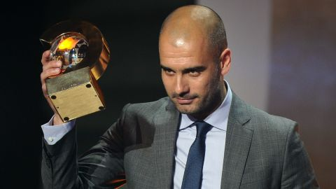 """Guardiola won the FIFA Men's Football Coach of the Year award in January 2012. """"I can't promise you silverware, but I can say that we'll keep on battling to the end and you'll be proud of us,"""" he said after becoming coach four years ago."""