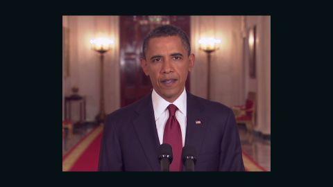 President Barack Obama announces the death of Osama bin Laden a year ago.