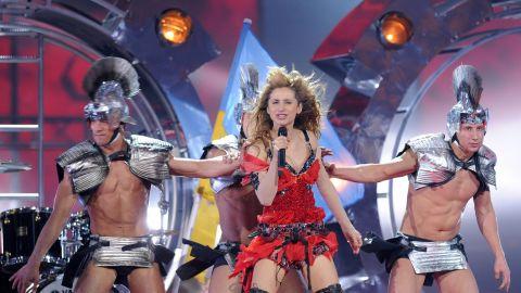 "Ukraine's Svetlana Loboda performs ""Be My Valentine"" in 2009 accompanied by dancers in gladiator costumes."