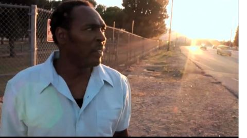 """In the VH1 film """"Uprising,"""" Rodney King revisits the site where Los Angeles police officers beat him up in 1991."""
