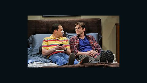 """Jon Cryer (left) and Ashton Kutcher, as shown in the upcoming 200th episode of """"Two and a Half Men"""" airing on May 7."""
