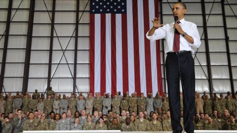 President  Obama speaks to troops during a visit to Bagram Air Field.