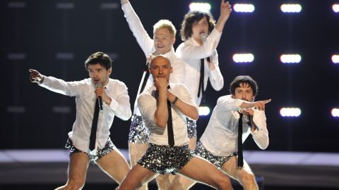 """Lithuanian group InCulto strips down to glittery hot pants for the climax of the song """"Eastern European Funk"""" in 2010."""