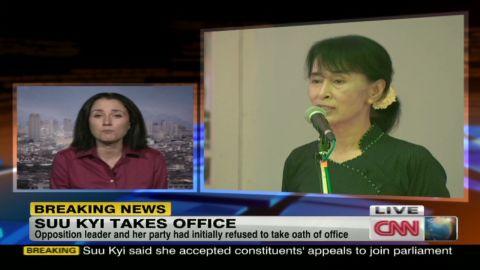 hancocks suu kyi sworn in office _00023009